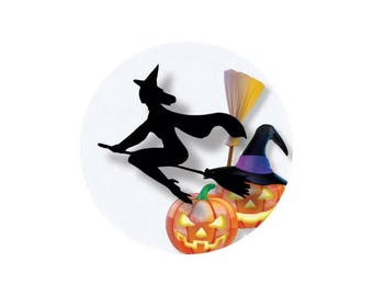 1 cabochon 25 mm glass Orange witch Halloween - 25 mm