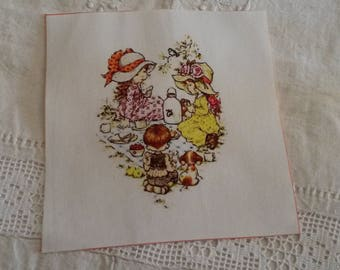 Fabric tile 15 X 15 cm / sew or glue / illustration taste of children