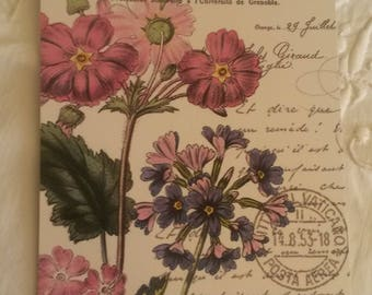 Vintage postcard for scrapbooking / flowers decor / embellishment