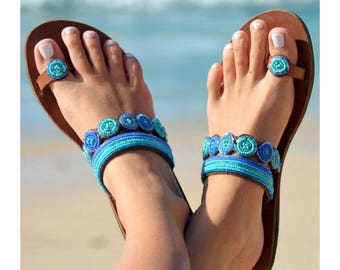 SANDALS FOR WOMEN, Handmade Sandals, Bohemian Sandals, Leather Sandals, Greek Sandals, Masai Sandals, African Sandals, Beaded Sandals