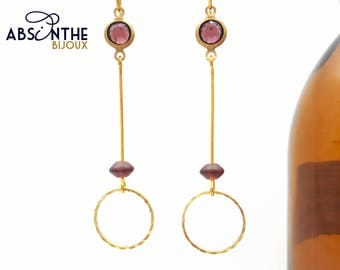 Boucles d'oreille art déco, bijoux minimaliste, longues, légères, bohèmes, doré, prune, géométrique, fait main, absinthe bijoux