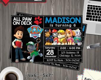 Paw Patrol Invitation, paw patrol Birthday, paw patrol Printable, paw patrol Editable, paw patrol PDF, paw patrol party birthday, paw patrol