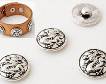 Metal snap, circular, decorated with dragon ± 18mm