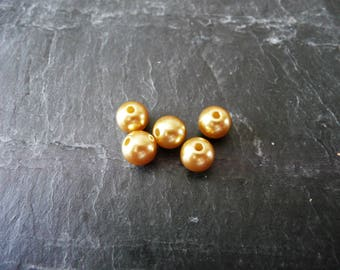 Set of 20 gold and Brown 8mm pearl beads (7 + 8 + 27)
