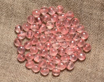 Wire 39cm 63pc env - stone beads - Rose Quartz balls faceted 6 mm AA