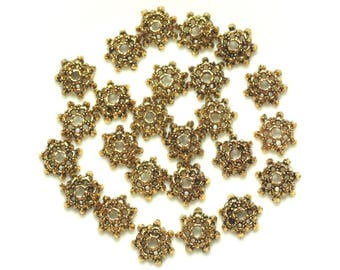 Bag of 20pc - beads caps Golden Metal - 9 x 2 mm 4558550037923