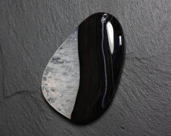 Gemstone pendant - Agate and Quartz Black and white drop 58 mm with imperfection No. 39 - 4558550085870