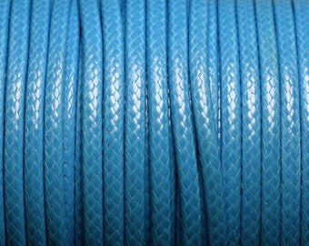 3 m - 3mm blue azure waxed cotton cord - 4558550004819
