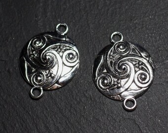 4pc - quality round 28mm - 8741140003828 Celtic spirals silver-plated connectors findings