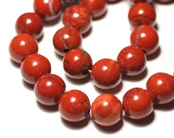 1pc - stone bead - Jasper red ball 14mm big hole 3mm - 8741140019430