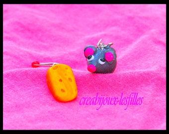 """earring mouse & cheese"" kawaii fimo"