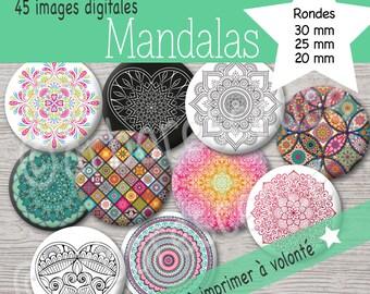 Mandalas- Images digitales diamètre 20 / 25 / 30 mm - Pour cabochon, badge, bijoux