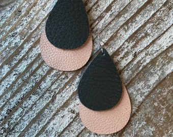 Leather Earrings - Pale Pink and gray layered teardrop leather earrings
