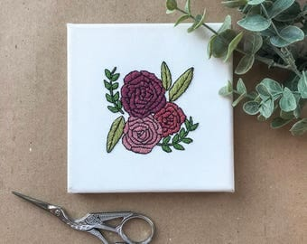 P E O N Y, Floral Hand Embroidery, Canvas Embroidery, Contemporary Embroidery, Modern Embroidery, Botanical Designs