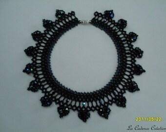 Crew neck black seed beads