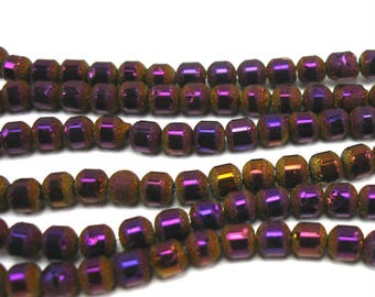 30 glass 4 mm frosted and metallic plum beads