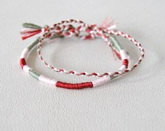 Duo of bracelets atebas pink green red braid 2 matching bracelets hippie wrap Brasilda