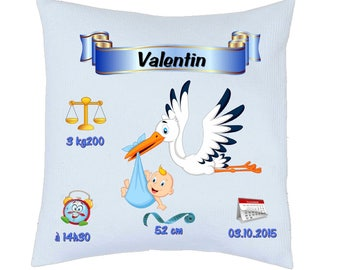 "birth announcement pillow ""boy Stork"" fully customized ref 54"