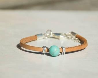 Turquoise Bracelet For Women, Women Leather Bracelet, Charm Beads Bracelet, Delicate Bracelet, Glass Beads Bracelet, Ideal Gift For Her.