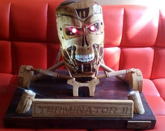 sculpture bust of completely wooden terminator t800