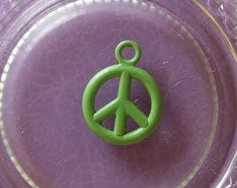 Charm peace love green metal