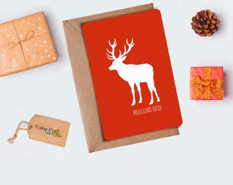 Christmas card / greeting reindeer card ochre
