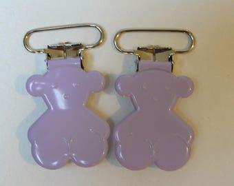 bear pacifier clip-Lavender