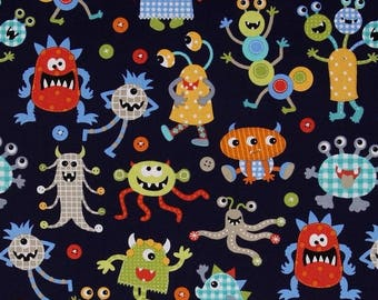 Monsters Miller blue patchwork fabric