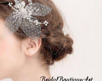 Nets hair clip,white mesh hair clip,bridal mesh hair clip,mesh hair clip,wedding mesh clip,bridal hair accessories