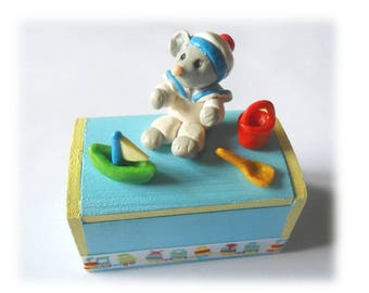 wooden tooth box blue sailor mouse decor