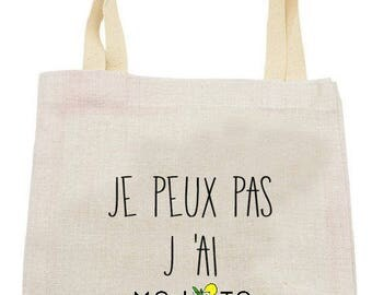 "TOTE BAG in linen ""I can't I mojito"""