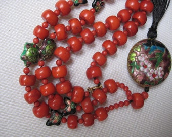 Antique Chinese silk red coral necklace cloisnné