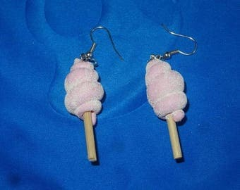 sweet cotton candy, very delicious shape earrings