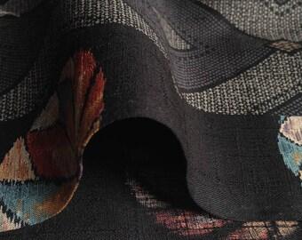 Japanese fabric, traditional Temari pattern, black background, cotton 112 x 50 (109)