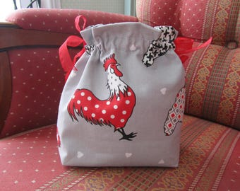 Bag pouch theme: hens and rooster in gray, red white and black