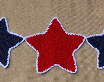 Free shipping! New Handmade Crochet 5 Stars Red White Blue Americana Table Runner Centerpiece Banner - Ready to ship