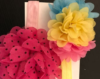 Baby girl carnation flower headband set of 2