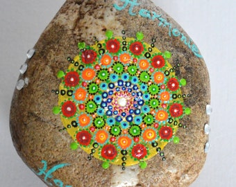 Large decorative stone completely handmade and handpainted