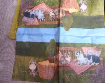 Paper towel cats on Garden Bench