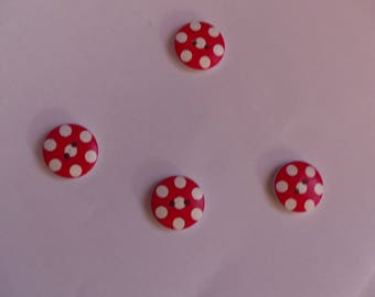Set of 4 wood buttons red and white 18 mm dots