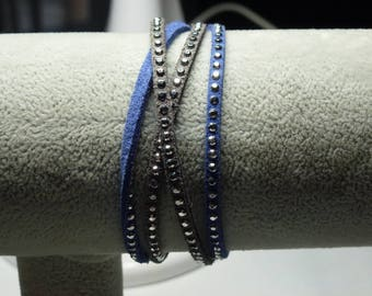 grey and Blue Suede bracelet