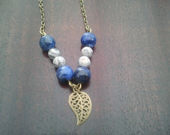 Sodalite and grey Jasper beads necklace