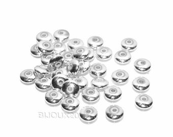 50 beads spacers 6mm acrylic saucer silver Lot M00233