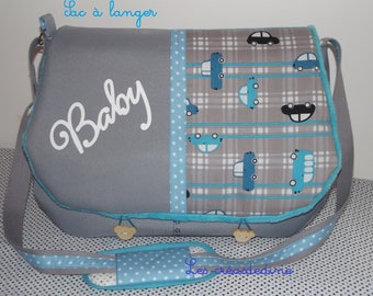 bag has changing gray patterns cars/travel baby bag / weekend bag / bag boy / rehearsal gift