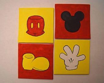 Mickey Mouse Design Mini Canvas Panels Set of 4