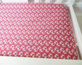 SALE! Pink Floral Changing Pad Cover - Girl Nursery Decor - Bright Pink Nursery Decor - Bright Pink Changing Pad Cover