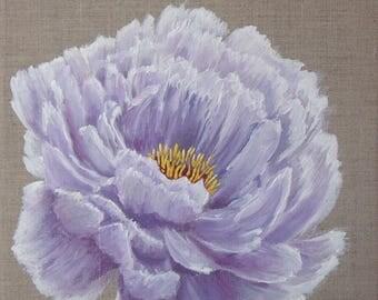 "Painting on linen flower ""Purple Peony"""