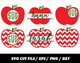 Apple Monogram svg, Monogram svg, Teacher svg, Apple svg, clipart svg eps png dxf - Fabric Cut Print Mug Shirt Decal Active