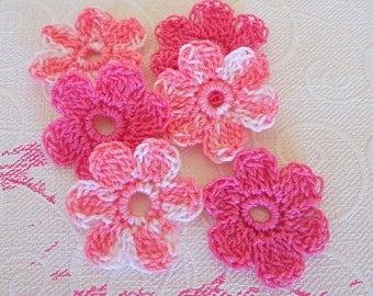 6 pink Daisy crochet