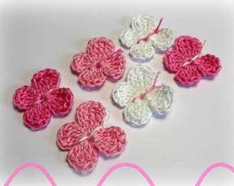 6 butterflies in pink and white cotton hook